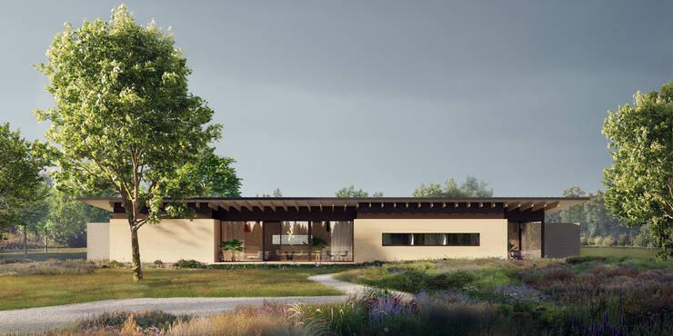 tuingevel:  Villa door STAAG architecten, Landelijk Glas