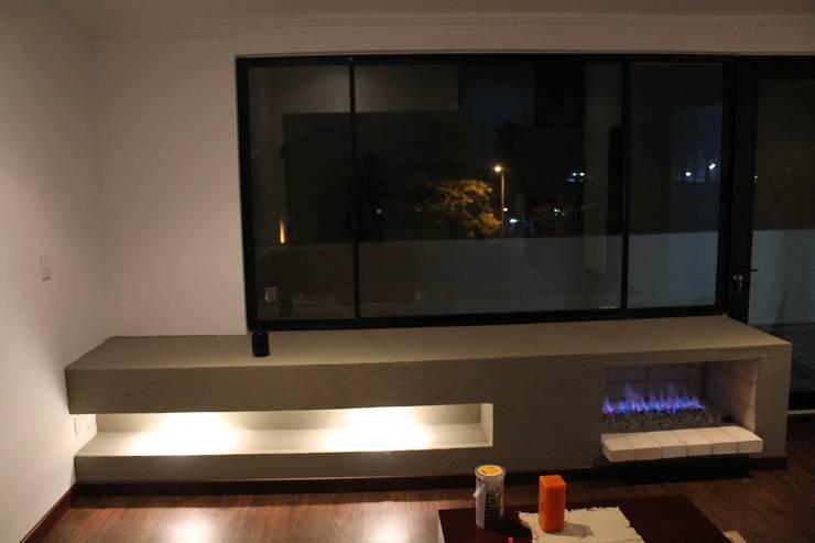 Vista a terraza: Salas de estilo  por ATELIER HABITAR, Moderno