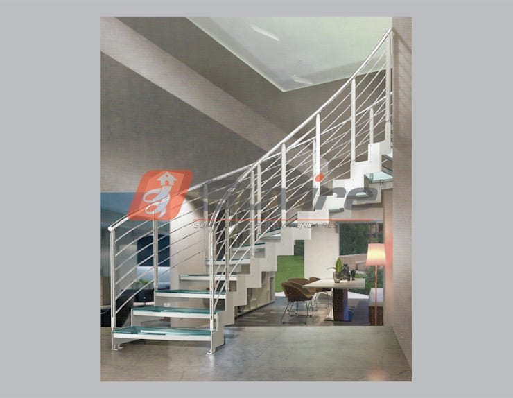 Escalera recta modelo KABAH helicoidal: Escaleras de estilo  por Suvire Escaleras