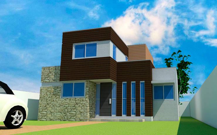 Vista frontal: Casas de estilo  por DIMA Arquitectura y Construcción
