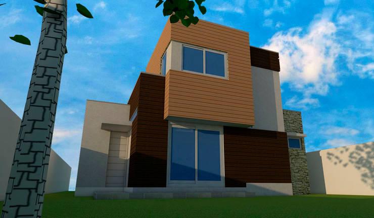 Vista posterior: Casas de estilo  por DIMA Arquitectura y Construcción