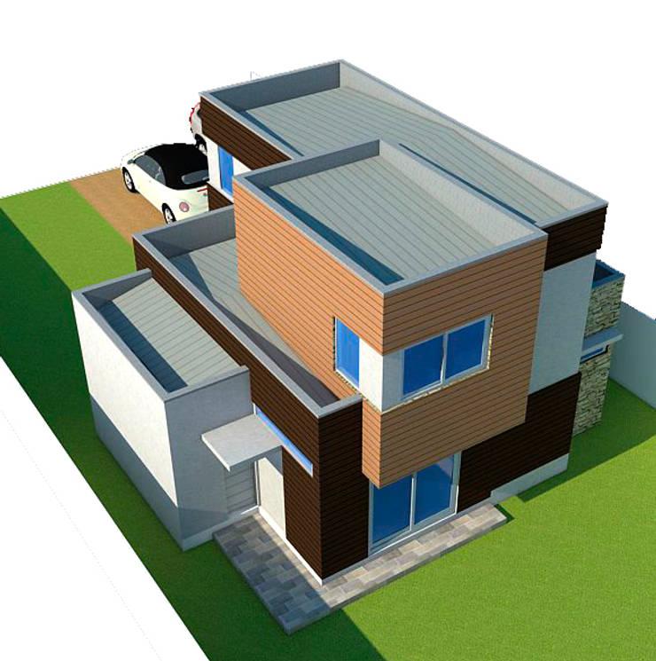 Vista superior posterior: Casas de estilo  por DIMA Arquitectura y Construcción