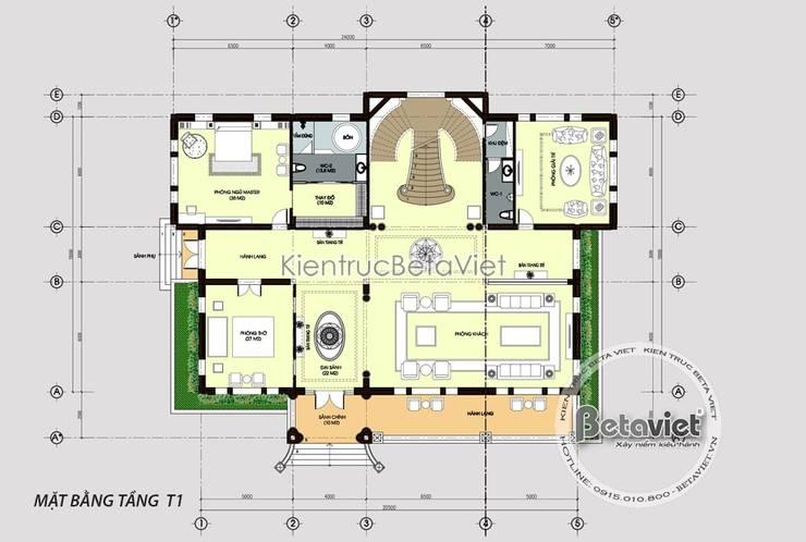 Mặt bằng tầng 1 mẫu thiết kế biệt thự đẹp 3 tầng Tân cổ điển lộng lẫy (CĐT: Ông Minh - Thanh Hóa) KT17067:   by Công Ty CP Kiến Trúc và Xây Dựng Betaviet