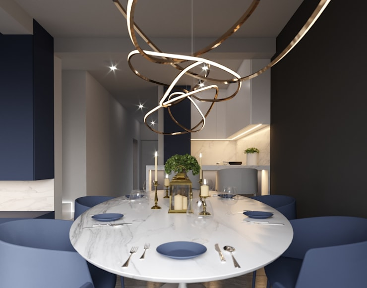 A Navy Situation:  Dining room by Fibi Interiors