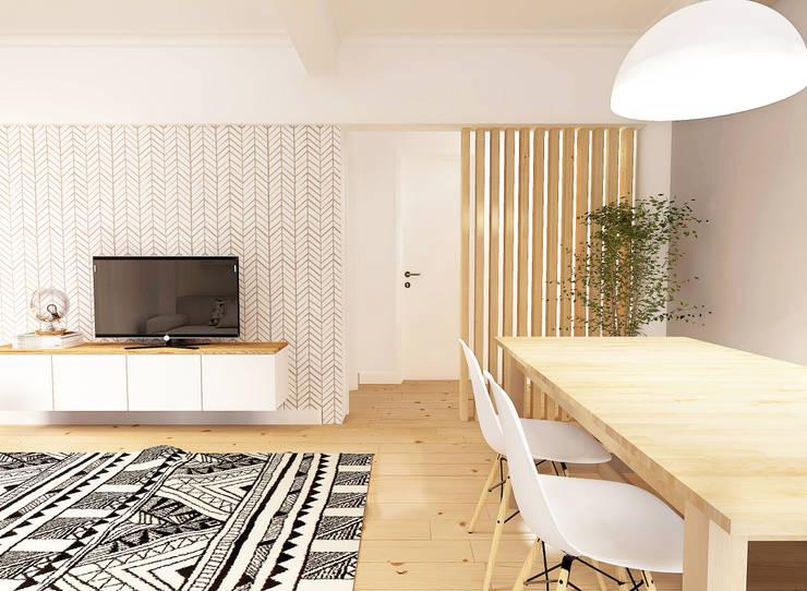 Casa do Pedro e da Sónia: Salas de jantar  por Homestories,Escandinavo