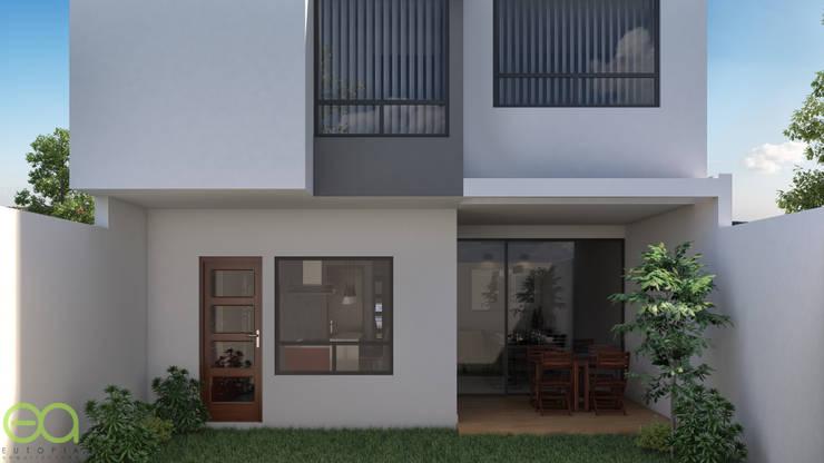 Fachada Posterior-Jardín: Casas unifamiliares de estilo  por Eutopia Arquitectura
