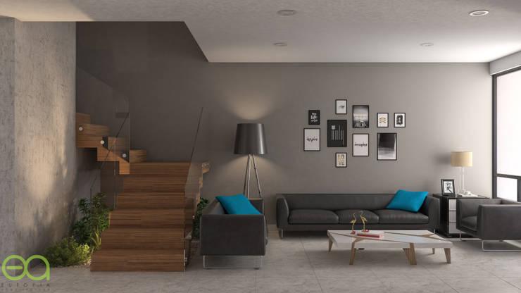 Sala-Escalera: Salas de estilo moderno por Eutopia Arquitectura