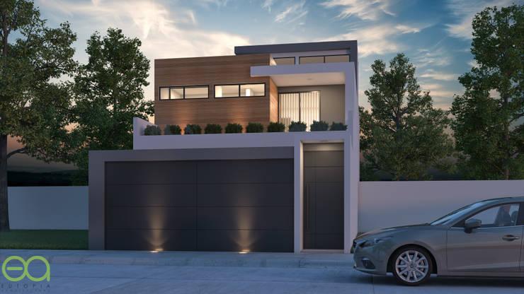 Fachada Principal Nocturno: Casas unifamiliares de estilo  por Eutopia Arquitectura