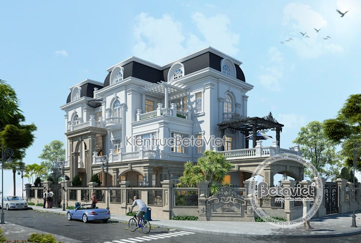 Phối cảnh mẫu thiết kế biệt thự đẹp 3 tầng siêu hoành tráng (CĐT: Ông Tuấn - Nghệ An)KT16107:   by Công Ty CP Kiến Trúc và Xây Dựng Betaviet