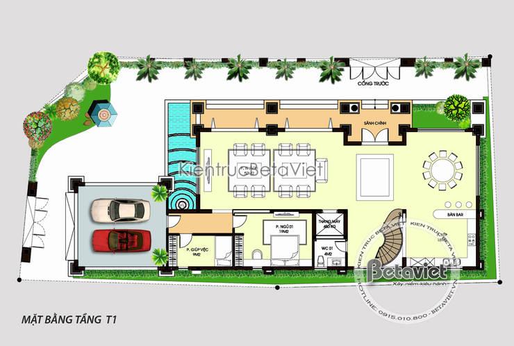 Mặt bằng tầng 1 mẫu thiết kế biệt thự đẹp 3 tầng siêu hoành tráng (CĐT: Ông Tuấn - Nghệ An)KT16107:   by Công Ty CP Kiến Trúc và Xây Dựng Betaviet
