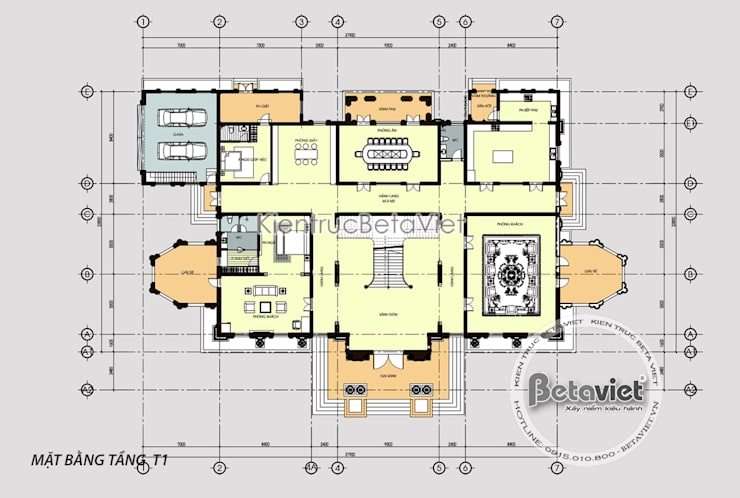Mặt bằng tầng 1 mẫu thiết kế biệt thự đẹp 2 tầng Cổ điển hoa lệ hoành tráng ( CĐT: Ông Nam - Thanh Hóa) KT17034:   by Công Ty CP Kiến Trúc và Xây Dựng Betaviet