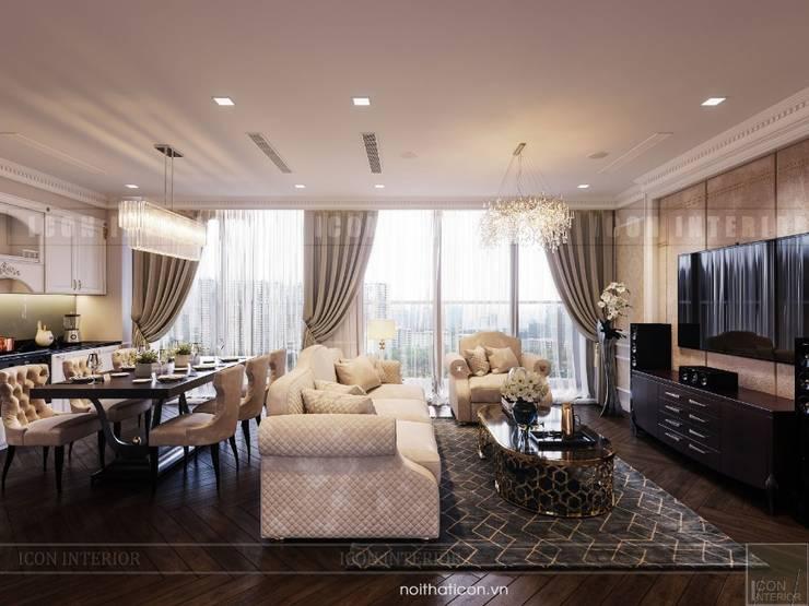 Nội thất Vinhomes Golden River – Vẻ đẹp Châu Âu giữa lòng thành phố:  Phòng khách by ICON INTERIOR
