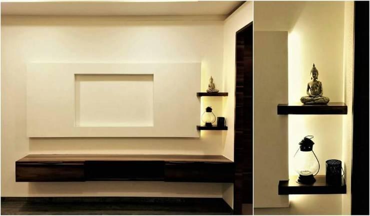 Veneer based minimilist theme: asian Living room by The Wood Works Club