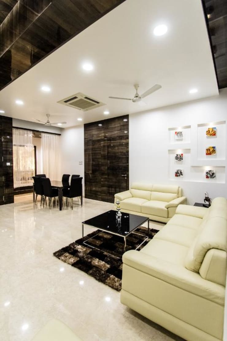 Premium apartments in Bhosale nagar:  Living room by The Wood Works Club,Asian