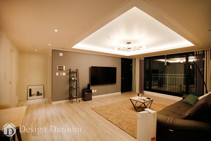 수유 두산위브 아파트 34py 거실: Design Daroom 디자인다룸의  거실,모던