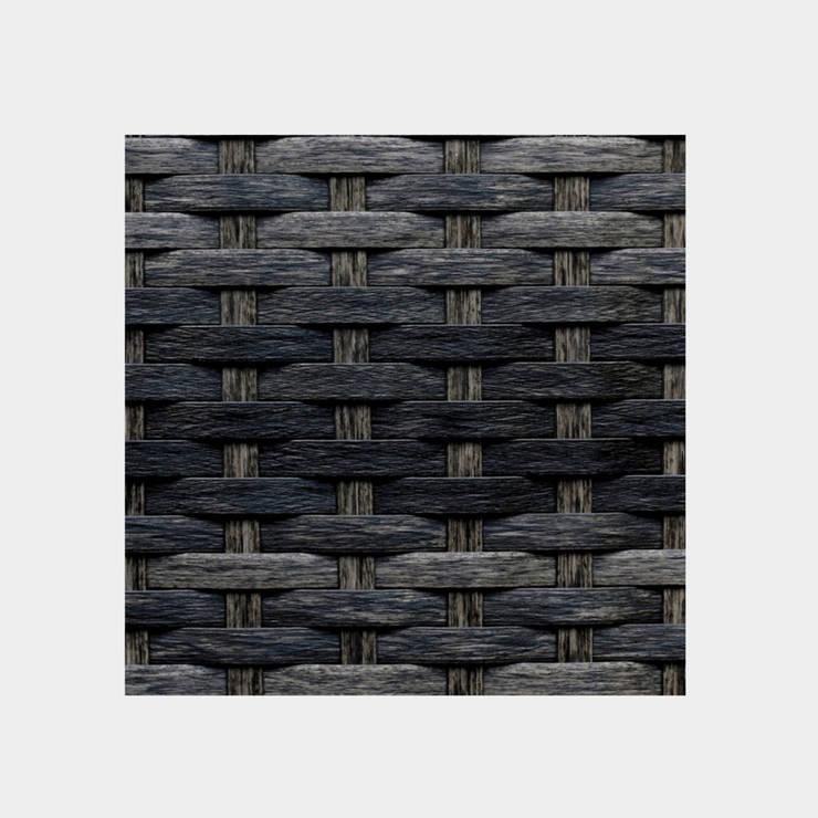 Reposera Rattan sin Brazos Negro Mixto: Balcones y terrazas de estilo  por Afuera Diseño