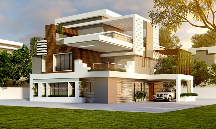 3D Exterior House Design:  Single family home by ThePro3DStudio,Modern