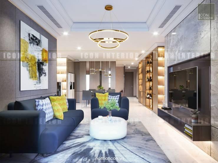 Căn hộ Vinhomes Central Park thiết kế theo phong cách hiện đại dẹp mê mẫn:  Phòng khách by ICON INTERIOR
