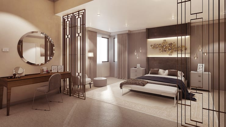 Main Bedroom:  Bedroom by Dessiner Interior Architectural