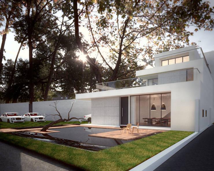 多樣化聚會空間:  庭院池塘 by 勻境設計 Unispace Designs