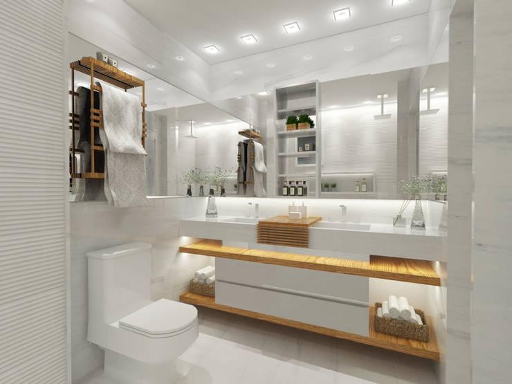 Banho Casal: Banheiros  por Pina Linhares Arquitetura