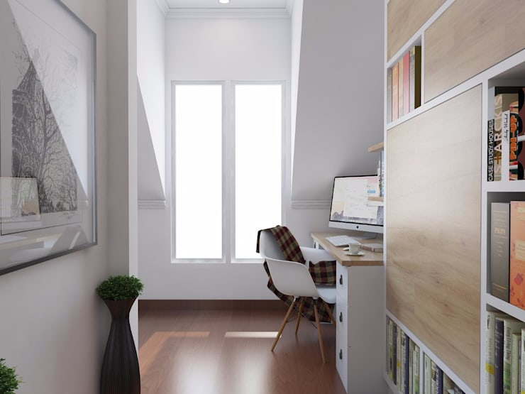 Scandinavian Home Office and Bedroom:  Office spaces & stores  by SARAÈ Interior Design