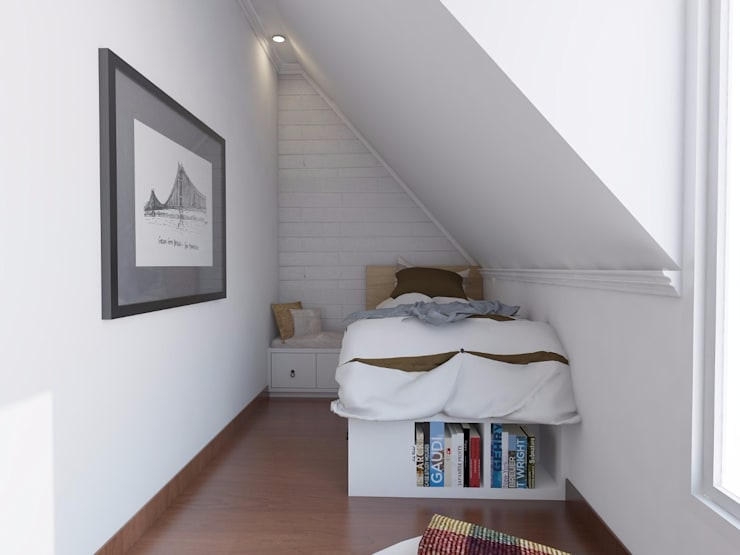 Scandinavian Home Office and Bedroom:  Bedroom by SARAÈ Interior Design