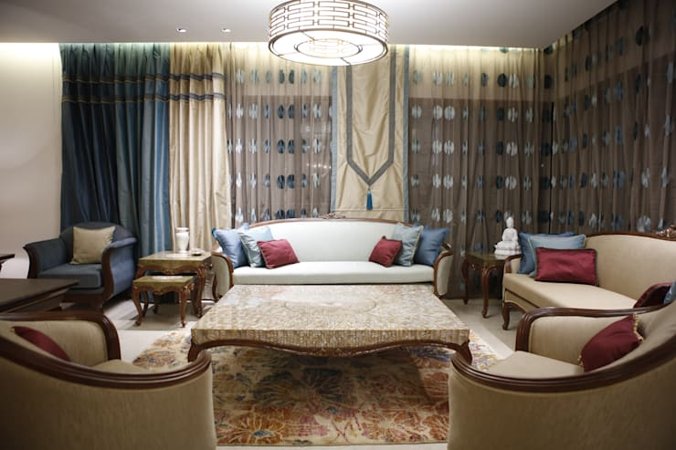 LIVING ROOM:  Living room by QBOID DESIGN HOUSE,Asian