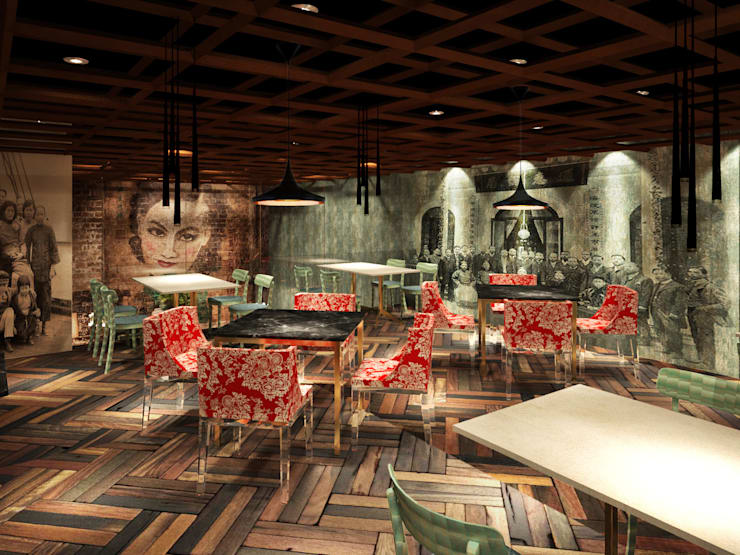 Salón en segundo piso:  de estilo  por Fernando Borda Arquitectura de Interiores,