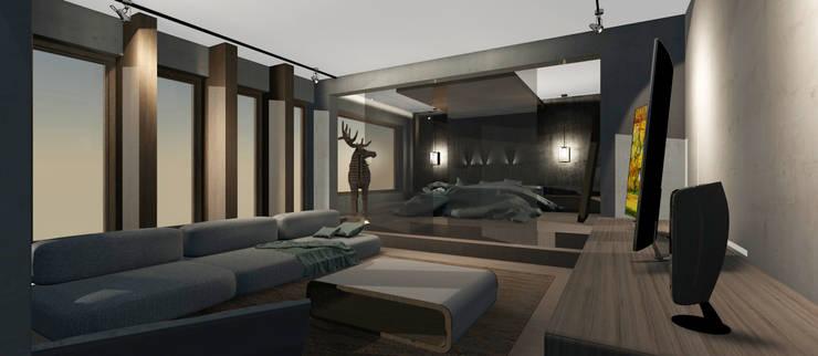 Living y Dormitorio Abierto: Dormitorios de estilo  por CB Luxus Inmobilien