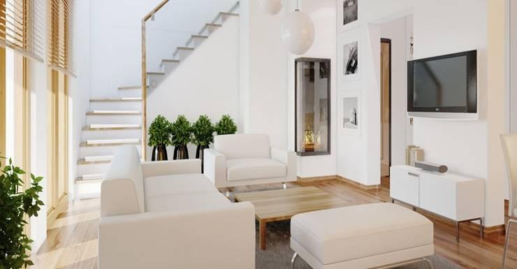 Mẫu phòng khách màu trắng sang trọng:  Phòng khách by Thương hiệu Nội Thất Hoàn Mỹ