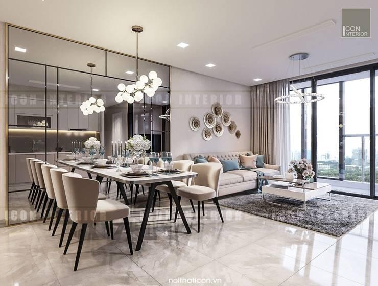 Căn hộ Vinhomes Golden River sang trong và trang nhã với thiết kế nội thất hiện đại :  Phòng khách by ICON INTERIOR