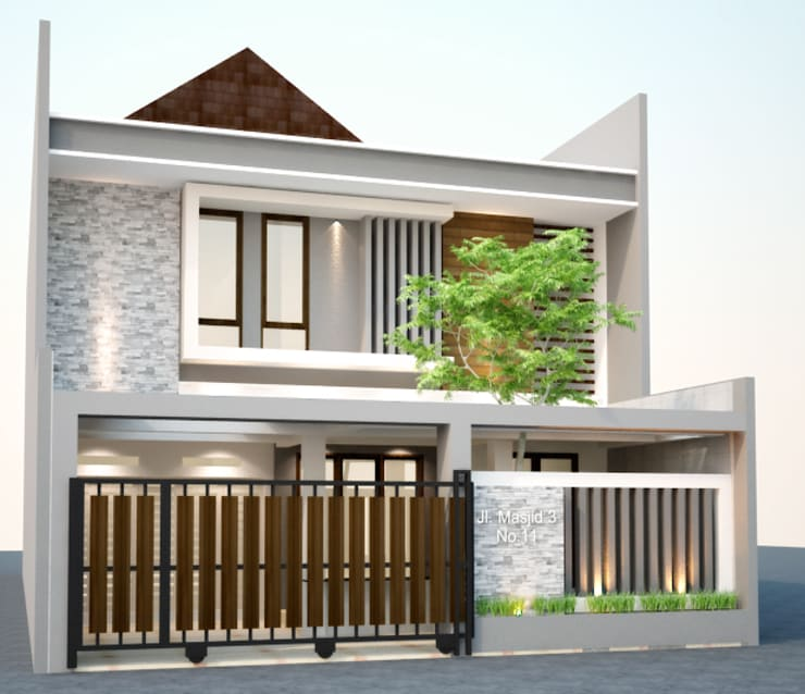 facade view-1:  Rumah tinggal  by Cendana Living