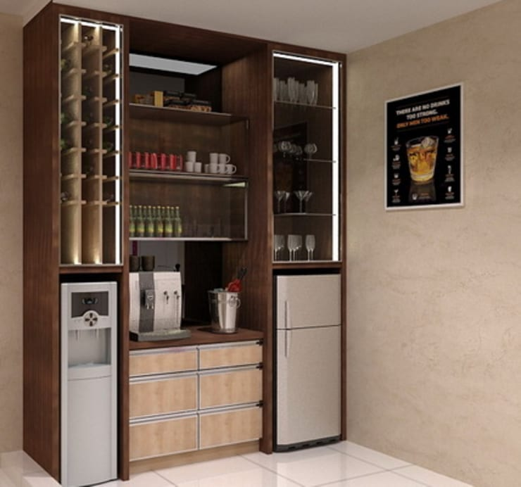 Minibar 2nd floor:  Wine cellar by Cendana Living