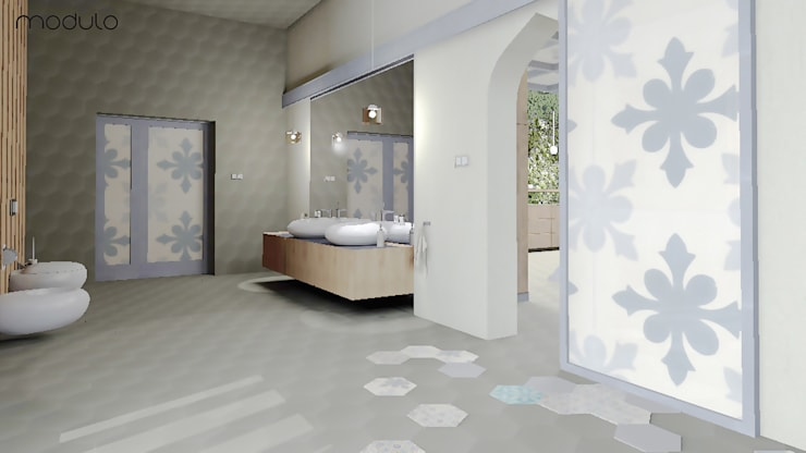 LOFT inspirowany stylem marokańskim.: styl , w kategorii Łazienka zaprojektowany przez MODULO Pracownia architektury wnętrz