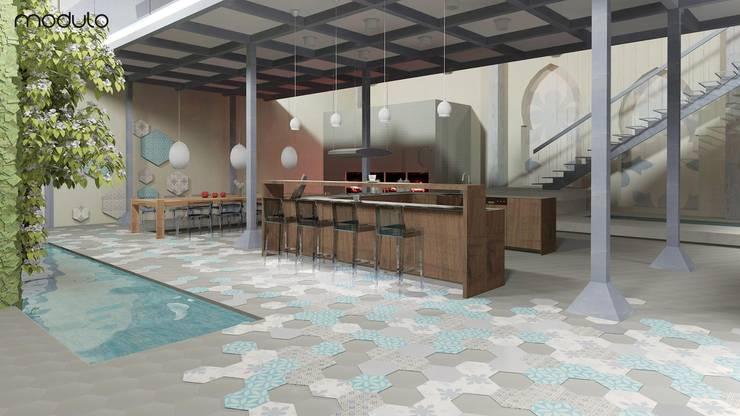 LOFT inspirowany stylem marokańskim.: styl , w kategorii Kuchnia zaprojektowany przez MODULO Pracownia architektury wnętrz