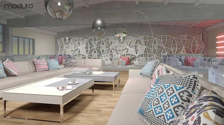 LOFT inspirowany stylem marokańskim.: styl , w kategorii Salon zaprojektowany przez MODULO Pracownia architektury wnętrz