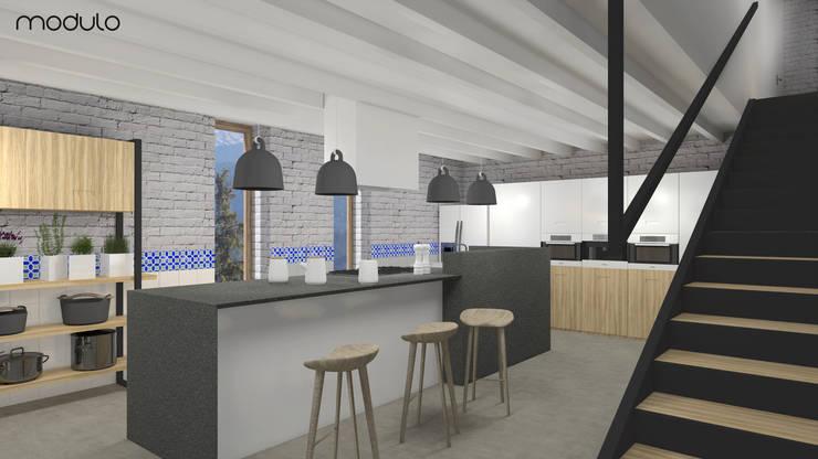 DOM w górach: styl , w kategorii Kuchnia zaprojektowany przez MODULO Pracownia architektury wnętrz,Skandynawski