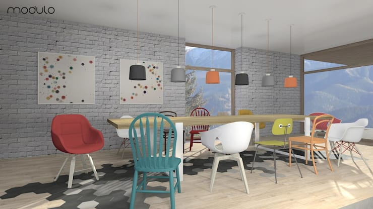 DOM w górach: styl , w kategorii Jadalnia zaprojektowany przez MODULO Pracownia architektury wnętrz,Skandynawski