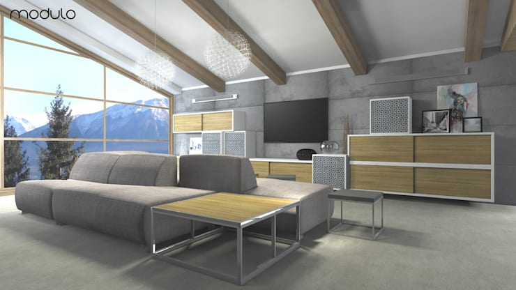 DOM w górach: styl , w kategorii Salon zaprojektowany przez MODULO Pracownia architektury wnętrz