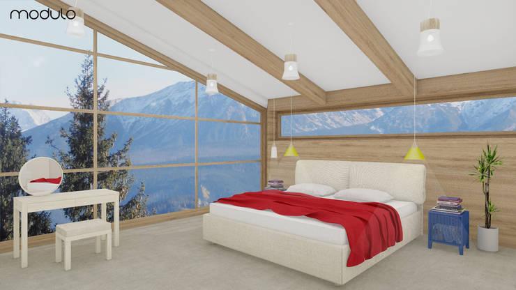 DOM w górach: styl , w kategorii Sypialnia zaprojektowany przez MODULO Pracownia architektury wnętrz