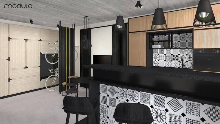 MIESZKANIE w stylu industrialnym: styl , w kategorii Kuchnia zaprojektowany przez MODULO Pracownia architektury wnętrz