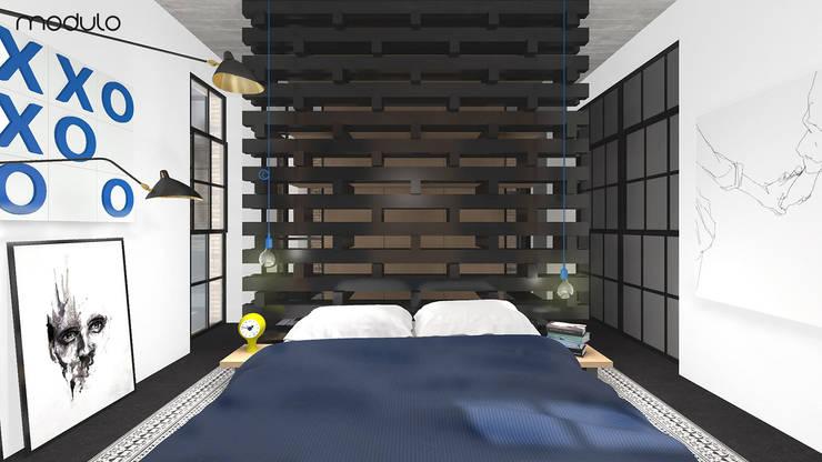 MIESZKANIE w stylu industrialnym: styl , w kategorii Sypialnia zaprojektowany przez MODULO Pracownia architektury wnętrz