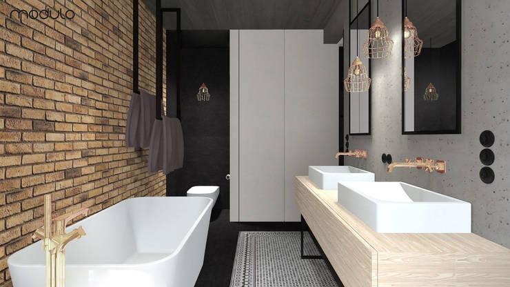 MIESZKANIE w stylu industrialnym: styl , w kategorii Łazienka zaprojektowany przez MODULO Pracownia architektury wnętrz