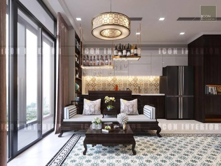 Cảm hứng Đông Dương trong thiết kế nội thất căn hộ Vinhomes Golden River:  Phòng khách by ICON INTERIOR