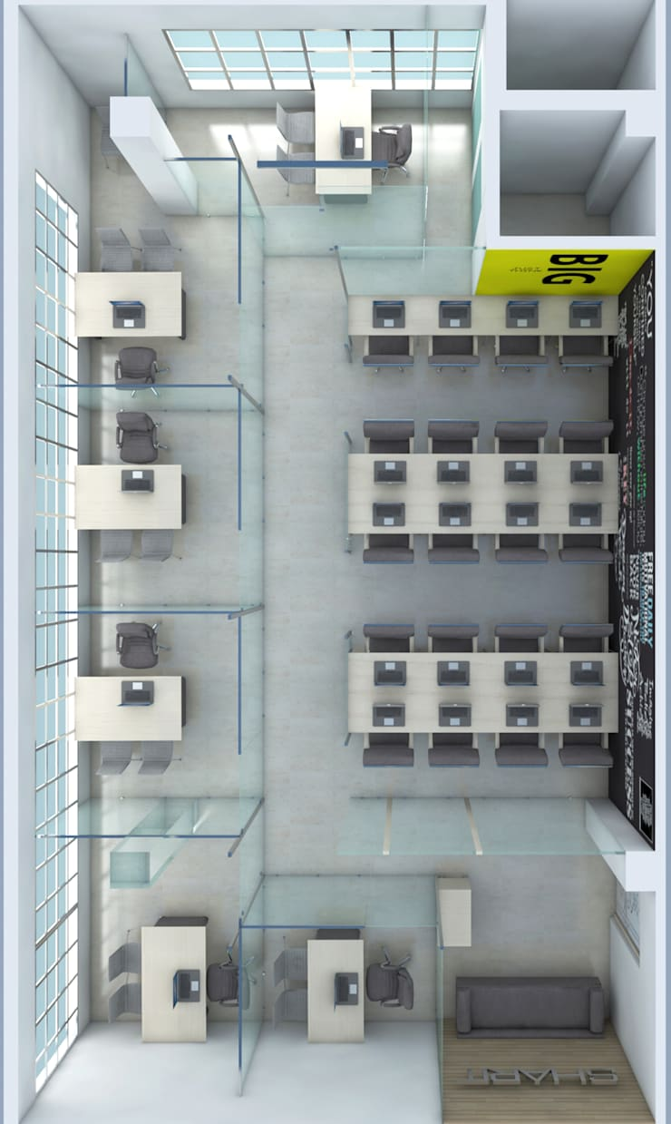 CORPORATE OFFICE WITH CABINS:  Offices & stores by ART JAIL,Modern