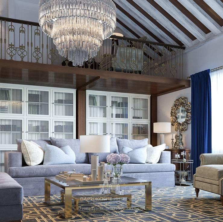 Гостиная со 2 этажом в частном доме: Гостиная в . Автор – Архитектурное бюро «Парижские интерьеры»