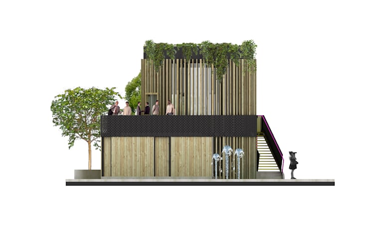 Pabellón del Agua: Escaleras de estilo  por Lúdico Arquitectos