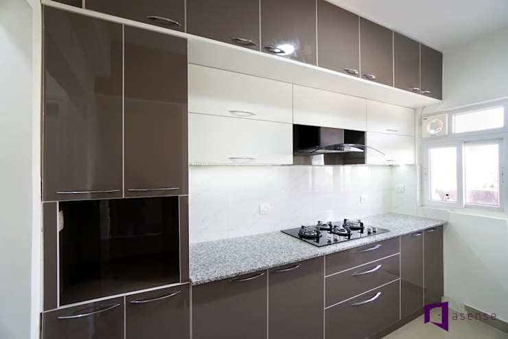 Subhra and Bharta's apartment in MJR Pearl,Kadugudi,Bangalore:  Kitchen by Asense,Modern