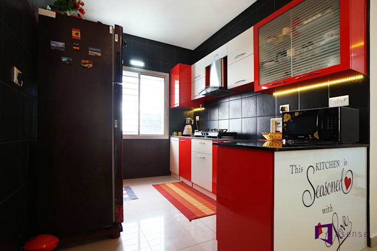 Ajay & Yogita's apartment in Sobha dream Acres,Varthur,Bangalore: minimalistic Kitchen by Asense